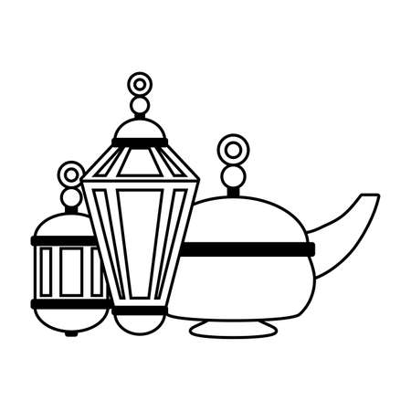 indian tea pot and lantern culture vector illustration design