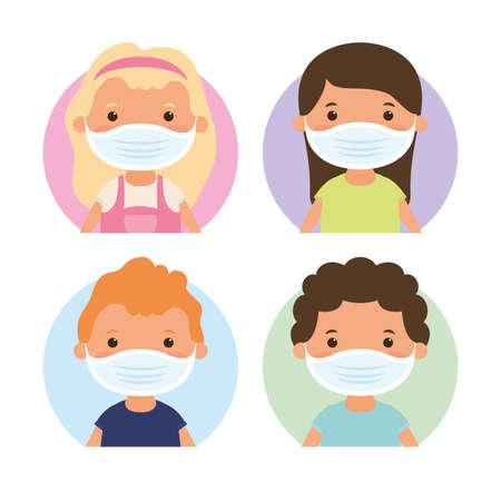 little kids using face masks characters vector illustration design Vettoriali