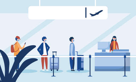 Woman at airport reception and men with masks waiting design, Cancelled flights travel and airport theme Vector illustration
