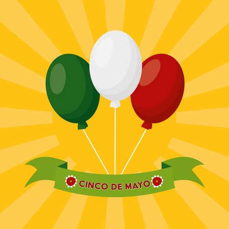 balloons decoration mexico cinco de mayo vector illustration