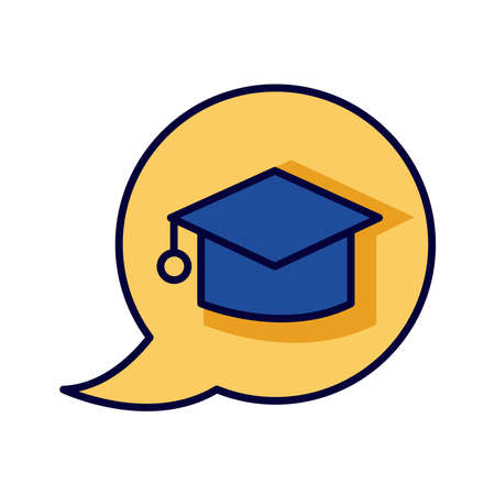 hat graduation in speech bubble line and fill style icon vector illustration design