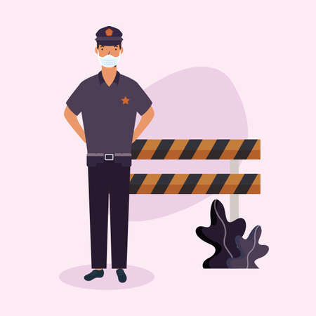 police man with mask and barrier design, Workers occupation and job theme Vector illustration