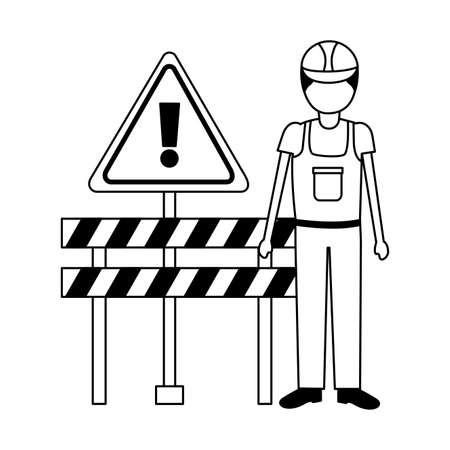 construction worker equipment barricade alert sign vector illustration