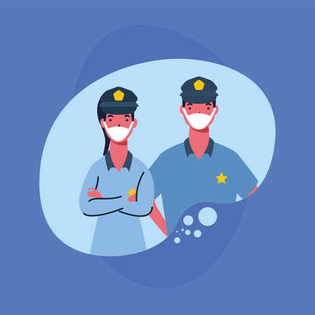 police man and woman with masks design, Workers occupation and job theme Vector illustration