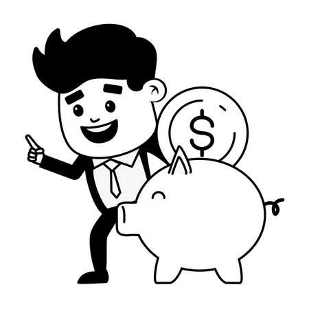 businessman piggy bank saving money online banking vector illustration
