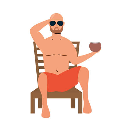 man wearing swimsuit seated in beach chair eating coconut vector illustration design