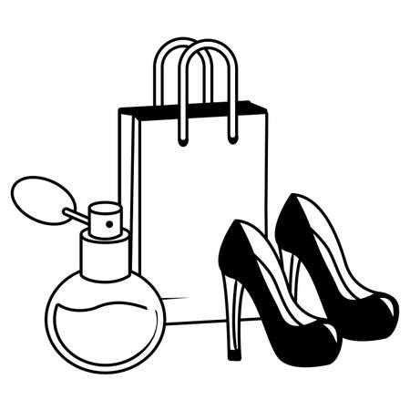 shopping bag high heel shoes fragrance pop art vector illustration Ilustração