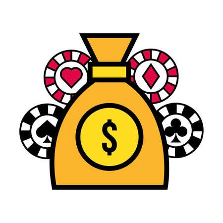 money dollars bag and casino chips vector illustration design