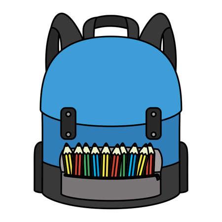 school bag equipment with colors pencils vector illustration design Illustration