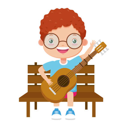 boy playing guitar in bench vector illustration