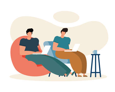 young men using laptops working in the livingroom vector illustration design