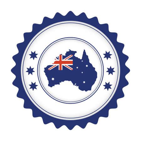 australian country flag in map seal vector illustration design