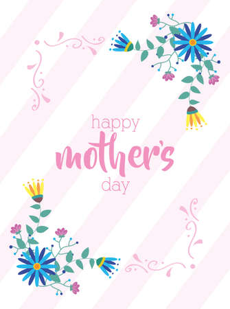 happy mothers day card with flowers vector illustration design