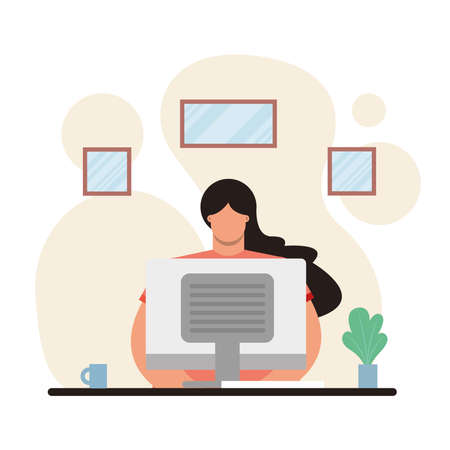 young woman using desktop working in the house vector illustration design  イラスト・ベクター素材