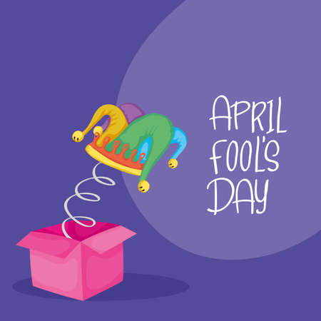 happy april fools day card with surprise box and buffoon hat vector illustration