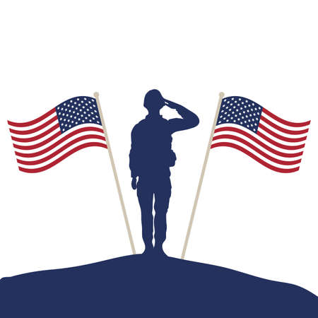 soldier saluting silhouette with usa flags vector illustration design