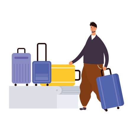 young man casual with suitcases in transport band vector illustration design Ilustração