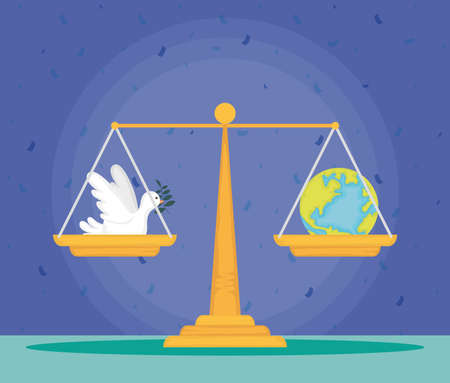 dove flying with olive branch and world planet in balance vector illustration design