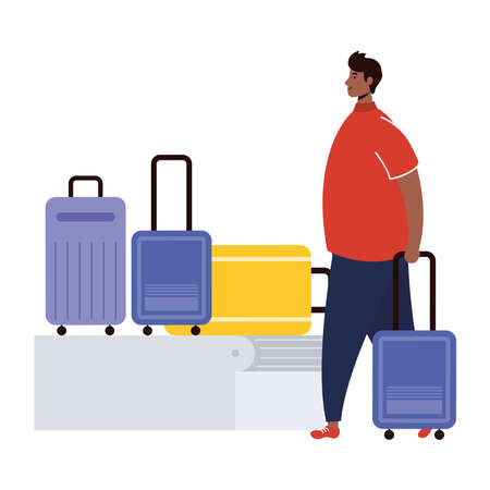 afro young man with suitcases in transport band vector illustration design
