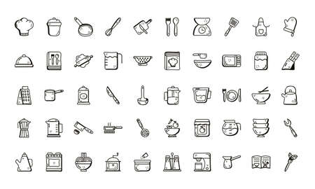 line style icon set design, Cook kitchen eat and food theme Vector illustration