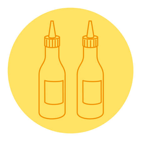 bottled of sauces, line style icon vector illustration design