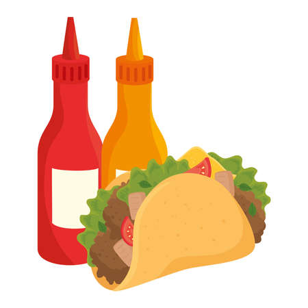 fast food, taco mexican food with bottled sauces, on white background vector illustration design