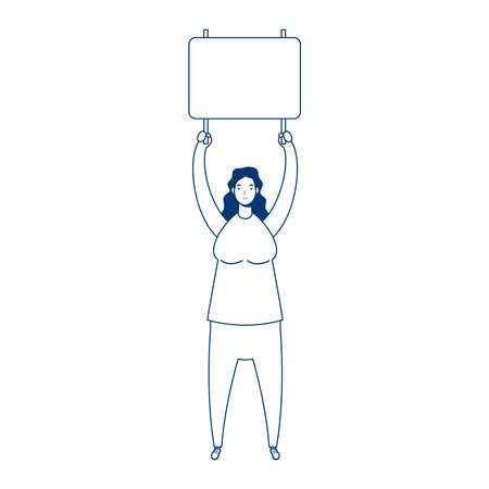 woman protesting with placard character vector illustration design