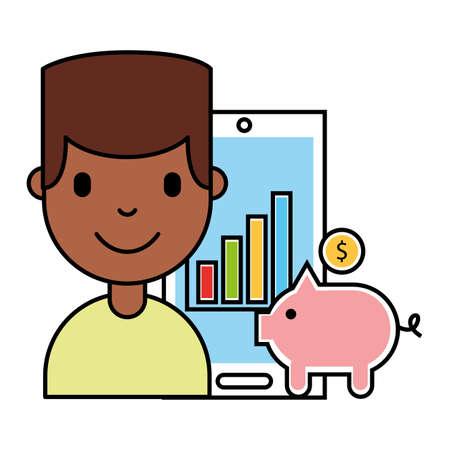 man smartphone piggy money business investment vector illustration