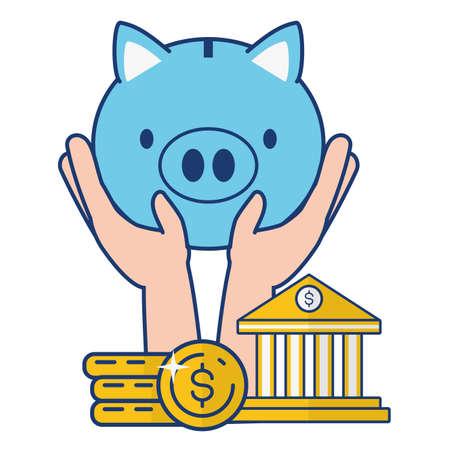 hands piggy bank coins online banking vector illustration vector illustration