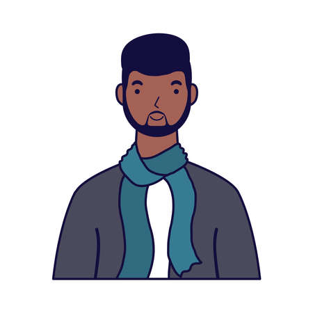 afro young man avatar character vector illustration design  イラスト・ベクター素材