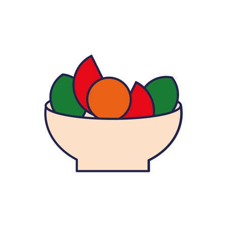 salad with fresh vegetables healthy food vector illustration design