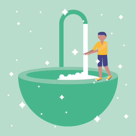 Man washing her hands design, Hygiene wash health and clean theme Vector illustration