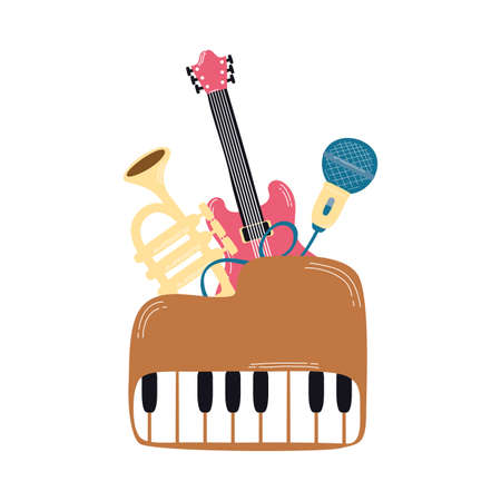 piano with musical instruments icons vector illustration design  イラスト・ベクター素材