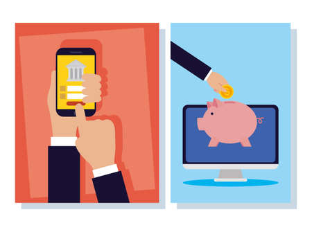 banking online technology with desktop and smartphone vector illustration design