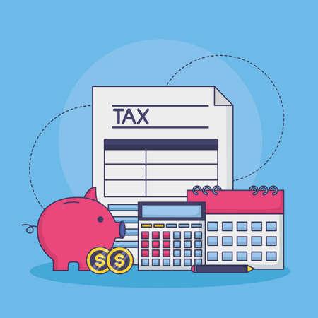 tax payment document piggy bank money coins calendar calculator vector illustration