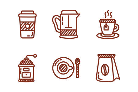 bundle of coffee and tea line style icon vector illustration design