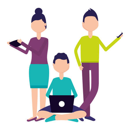 people laptop smartphone devices social media vector illustration