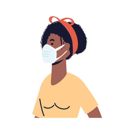 afro young woman wearing medical mask character vector illustration design
