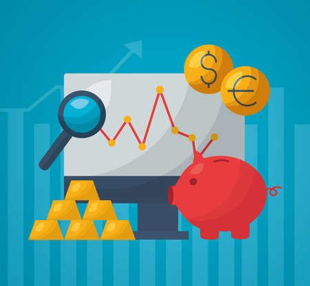 piggy bank computer analysis trade financial stock market vector illustration
