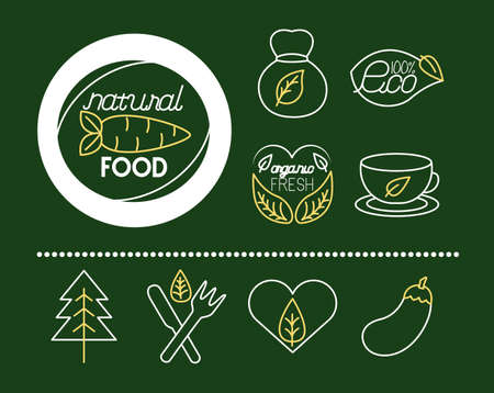 bundle of nature and organic icons vector illustration design Vektorové ilustrace