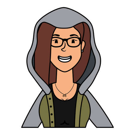 cute young woman with eyeglasses character vector illustration design Illusztráció