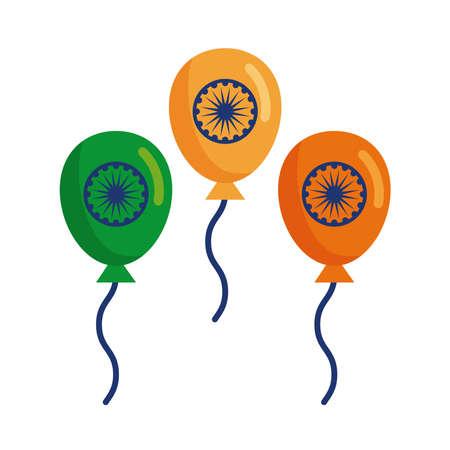 balloons helium with ashoka shakras indian independence day flat style vector illustration design
