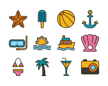 bundle of beach set line and fill icons vector illustration design 向量圖像