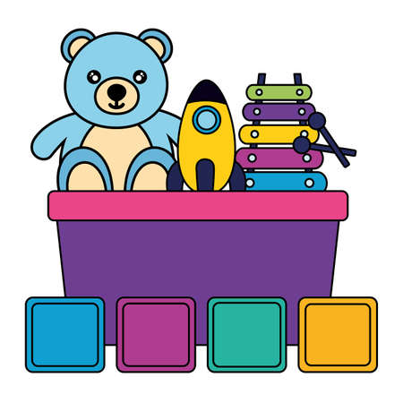 kids toys bucket with bear rocket xylophone cubes vector illustration Vettoriali