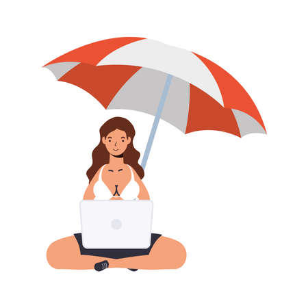 Girl cartoon with bikini laptop and umbrella design, Summer vacation tropical and relaxation theme Vector illustration