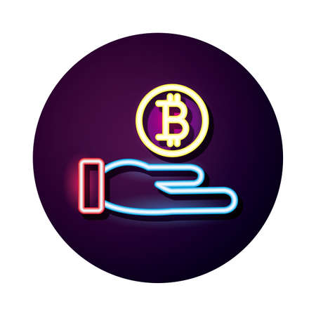 hand lifting bitcoin crypto currency neon style icon vector illustration design Ilustracja