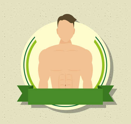 young man athlete without shirt in frame vector illustration design