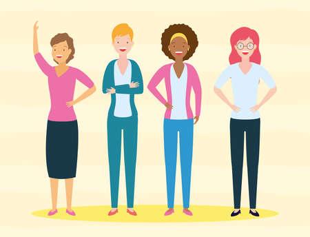 diversity woman people group vector illustration design
