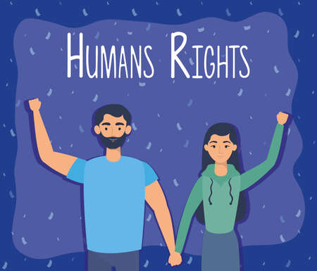 young lovers couple with human rights label vector illustration design Vectores