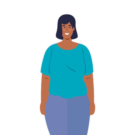 mulatto young woman on white background vector illustration design